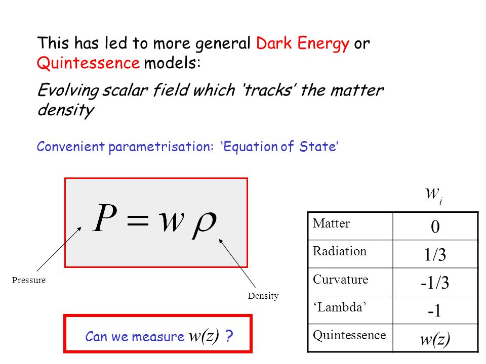 This has led to more general Dark Energy or Quintessence models: Evolving scalar field which tracks the matter density Convenient parametrisation: Equ