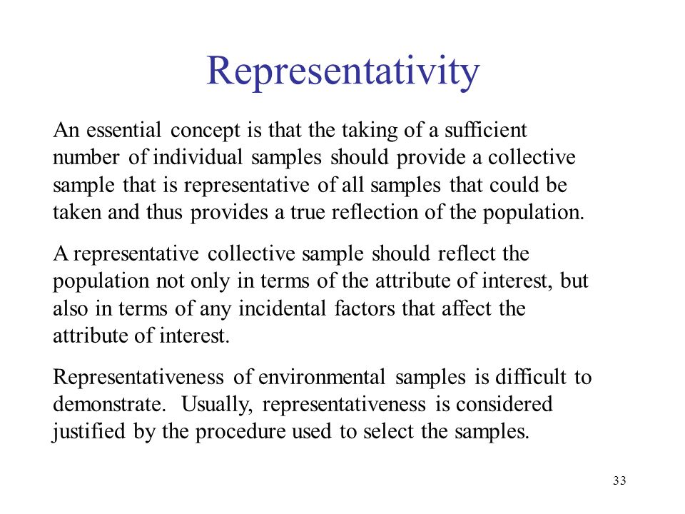 33 Representativity An essential concept is that the taking of a sufficient number of individual samples should provide a collective sample that is re