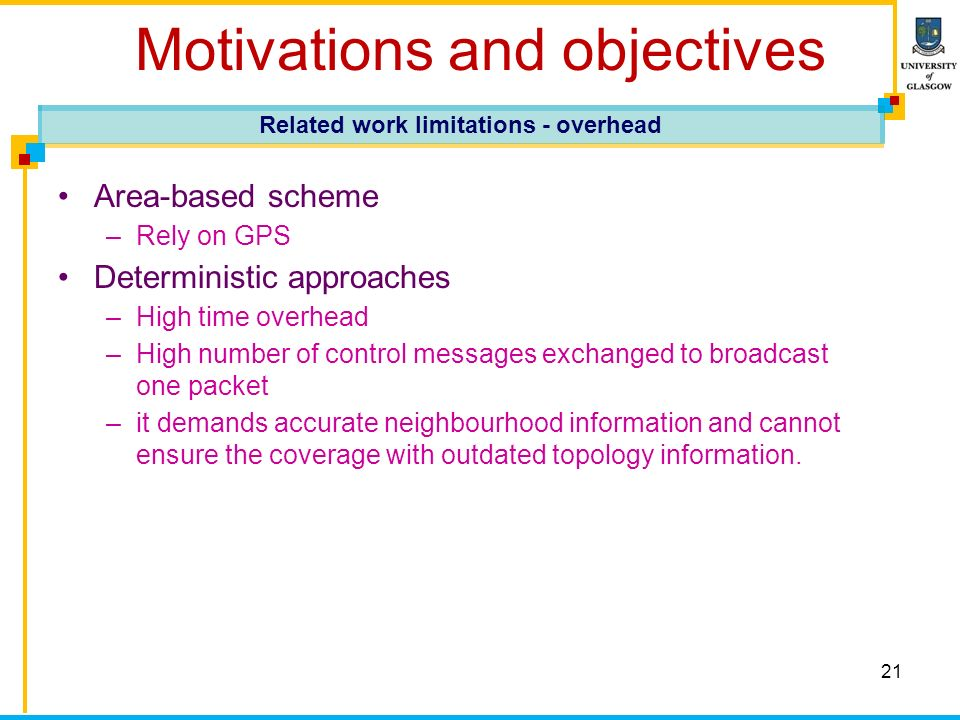 21 Motivations and objectives Area-based scheme –Rely on GPS Deterministic approaches –High time overhead –High number of control messages exchanged to broadcast one packet –it demands accurate neighbourhood information and cannot ensure the coverage with outdated topology information.