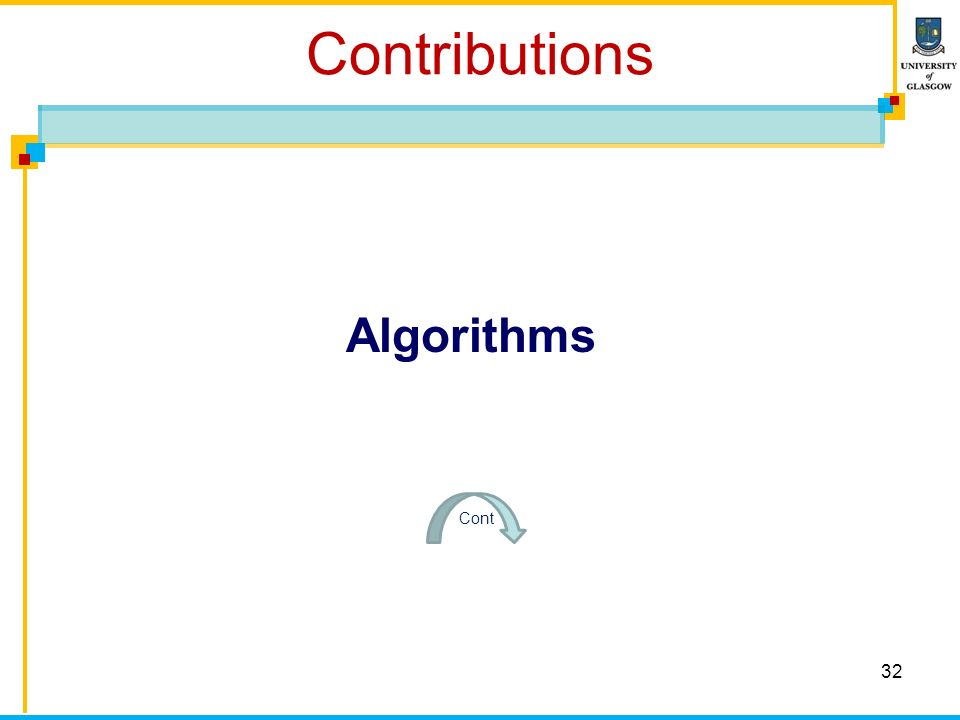 Contributions 32 Algorithms Cont