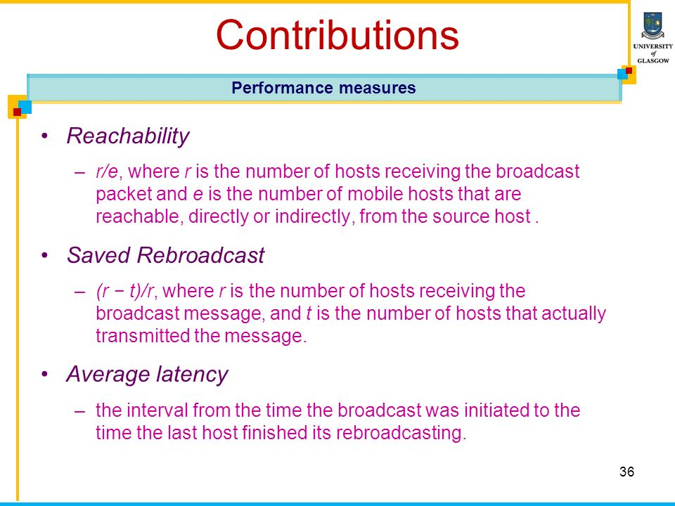 36 Contributions Reachability –r/e, where r is the number of hosts receiving the broadcast packet and e is the number of mobile hosts that are reachab