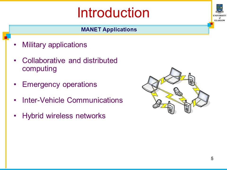 5 Introduction Military applications Collaborative and distributed computing Emergency operations Inter-Vehicle Communications Hybrid wireless networks MANET Applications