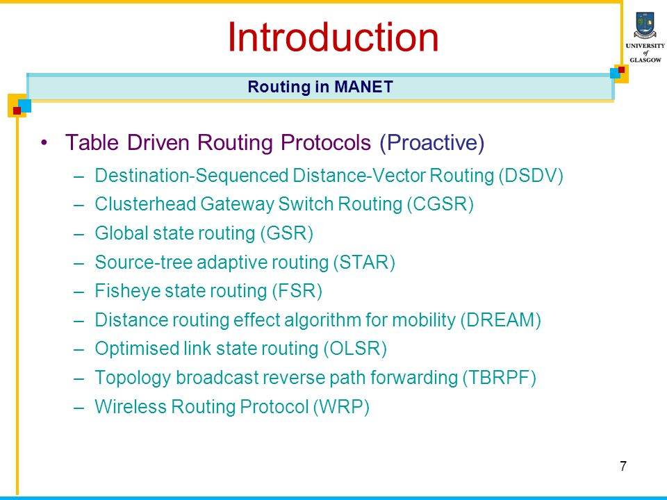 7 Introduction Table Driven Routing Protocols (Proactive) –Destination-Sequenced Distance-Vector Routing (DSDV) –Clusterhead Gateway Switch Routing (CGSR) –Global state routing (GSR) –Source-tree adaptive routing (STAR) –Fisheye state routing (FSR) –Distance routing effect algorithm for mobility (DREAM) –Optimised link state routing (OLSR) –Topology broadcast reverse path forwarding (TBRPF) –Wireless Routing Protocol (WRP) Routing in MANET
