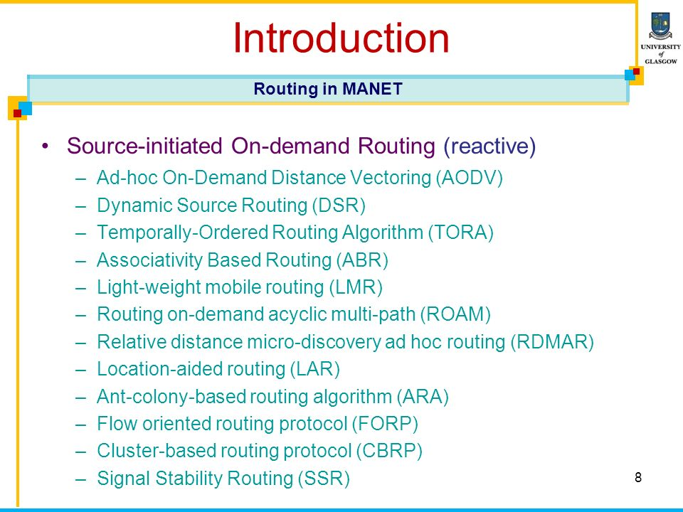 9 Introduction Hybrid routing protocols –Zone routing protocol (ZRP) –Zone-based hierarchical link state (ZHLS) –Scalable location update routing protocol (SLURP) –Distributed spanning trees based routing protocol (DST) –Distributed dynamic routing (DDR) Routing in MANET