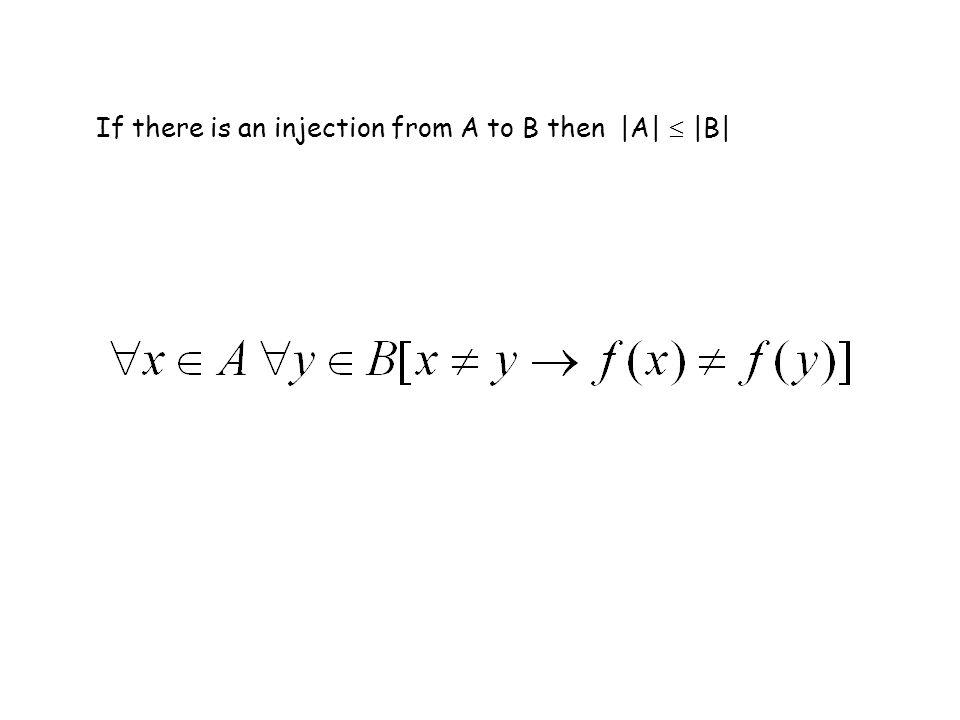 If there is an injection from A to B then |A| |B|