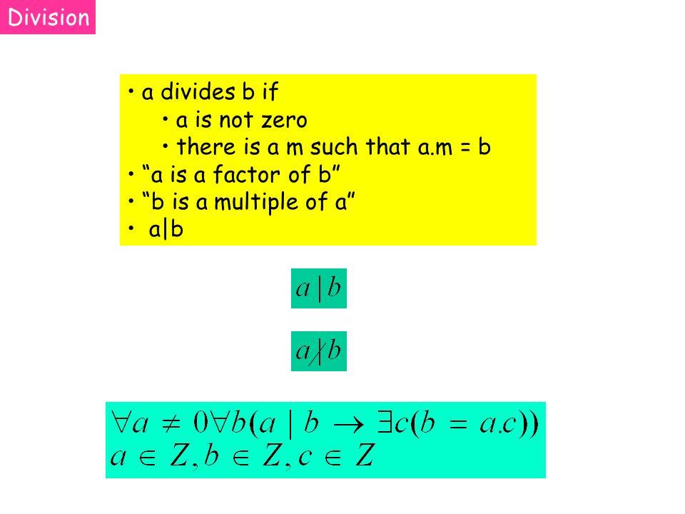 a divides b if a is not zero there is a m such that a.m = b a is a factor of b b is a multiple of a a|b Division