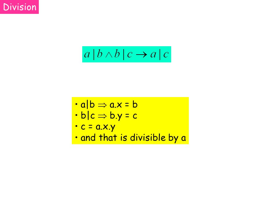 a b a.x = b b c b.y = c c = a.x.y and that is divisible by a Division