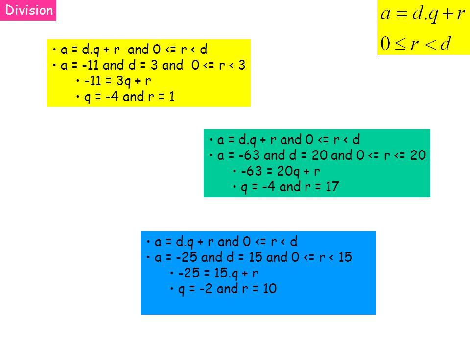 Division a = d.q + r and 0 <= r < d a = -11 and d = 3 and 0 <= r < 3 -11 = 3q + r q = -4 and r = 1 a = d.q + r and 0 <= r < d a = -63 and d = 20 and 0 <= r <= 20 -63 = 20q + r q = -4 and r = 17 a = d.q + r and 0 <= r < d a = -25 and d = 15 and 0 <= r < 15 -25 = 15.q + r q = -2 and r = 10