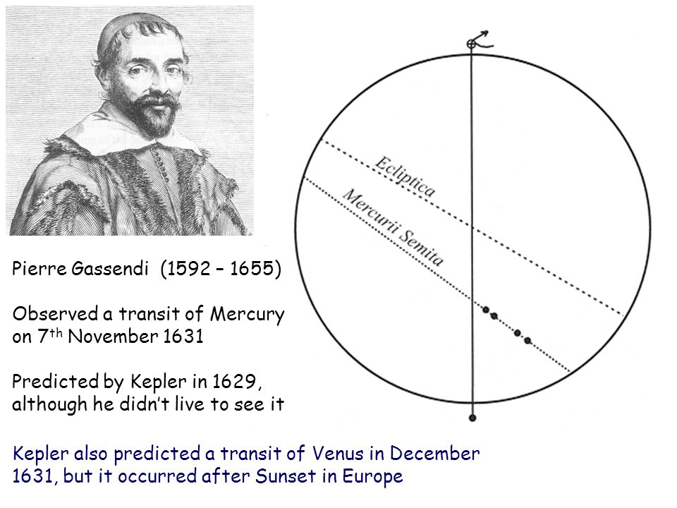 Pierre Gassendi (1592 – 1655) Observed a transit of Mercury on 7 th November 1631 Predicted by Kepler in 1629, although he didnt live to see it Kepler also predicted a transit of Venus in December 1631, but it occurred after Sunset in Europe