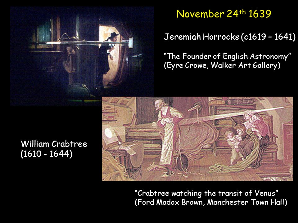 November 24 th 1639 Jeremiah Horrocks (c1619 – 1641) The Founder of English Astronomy (Eyre Crowe, Walker Art Gallery) William Crabtree ( ) Crabtree watching the transit of Venus (Ford Madox Brown, Manchester Town Hall)