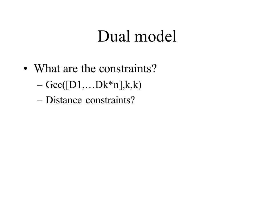 Dual model What are the constraints –Gcc([D1,…Dk*n],k,k) –Distance constraints