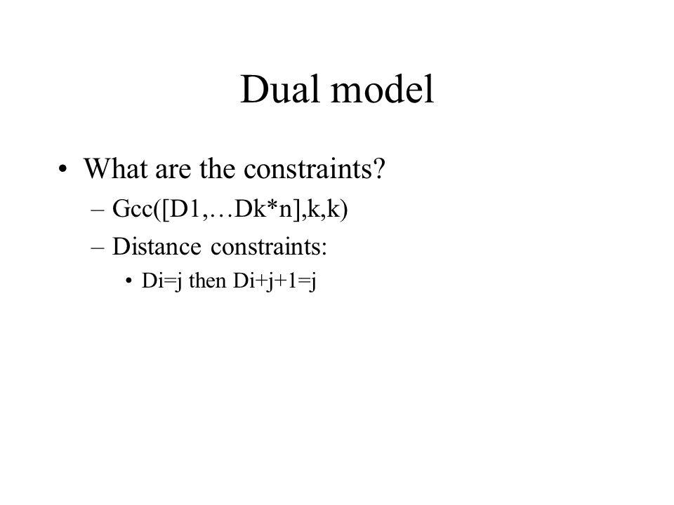 Dual model What are the constraints –Gcc([D1,…Dk*n],k,k) –Distance constraints: Di=j then Di+j+1=j