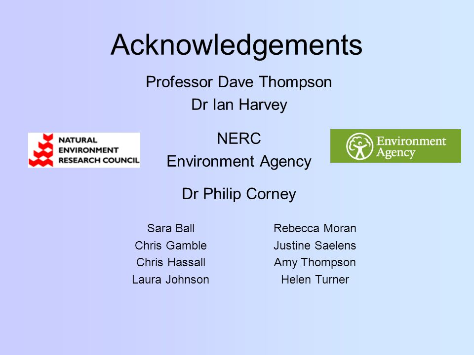 Acknowledgements Professor Dave Thompson Dr Ian Harvey NERC Environment Agency Dr Philip Corney Sara Ball Chris Gamble Chris Hassall Laura Johnson Rebecca Moran Justine Saelens Amy Thompson Helen Turner