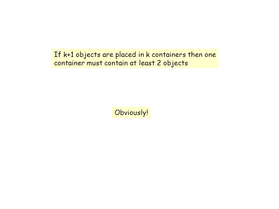 If k+1 objects are placed in k containers then one container must contain at least 2 objects Obviously!