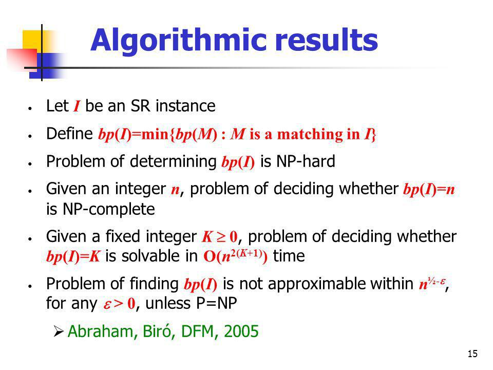 15 Algorithmic results Let I be an SR instance Define bp(I)=min{bp(M) : M is a matching in I} Problem of determining bp(I) is NP-hard Given an integer n, problem of deciding whether bp(I)=n is NP-complete Given a fixed integer K 0, problem of deciding whether bp(I)=K is solvable in O(n 2(K+1) ) time Problem of finding bp(I) is not approximable within n ½-, for any > 0, unless P=NP Abraham, Biró, DFM, 2005