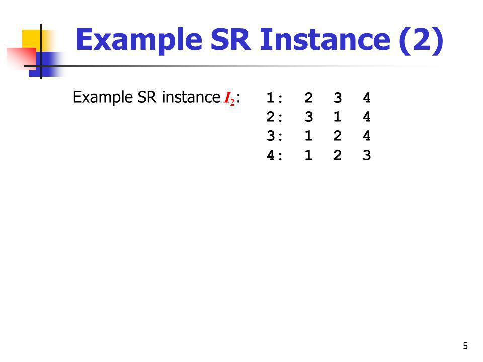 5 Example SR Instance (2) Example SR instance I 2 : 1: 2 3 4 2: 3 1 4 3: 1 2 4 4: 1 2 3
