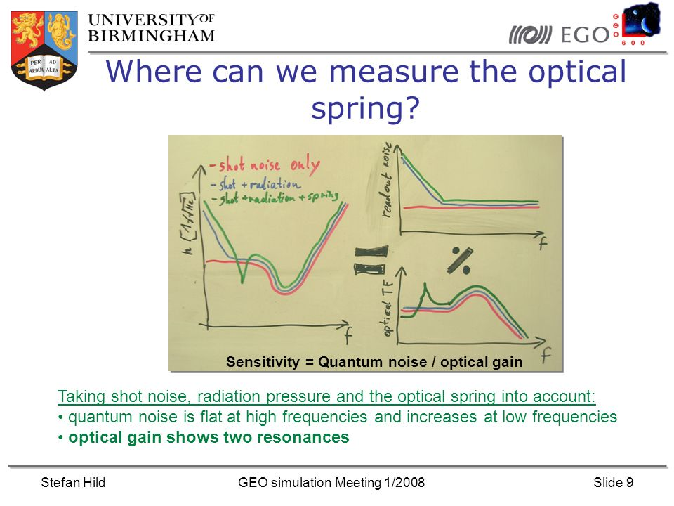 Stefan HildGEO simulation Meeting 1/2008Slide 9 Where can we measure the optical spring.
