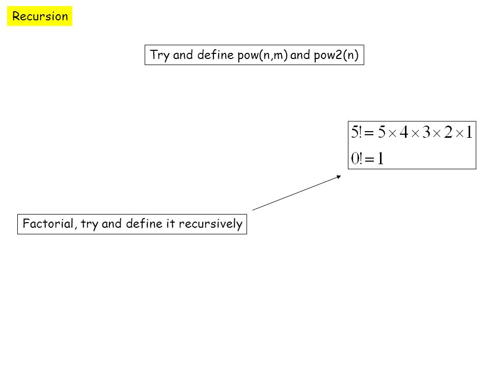 Recursion Try and define pow(n,m) and pow2(n) Factorial, try and define it recursively
