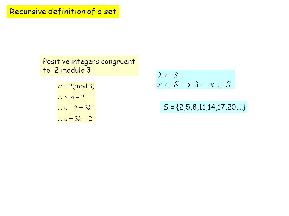 Recursive definition of a set Positive integers congruent to 2 modulo 3 S = {2,5,8,11,14,17,20,…}