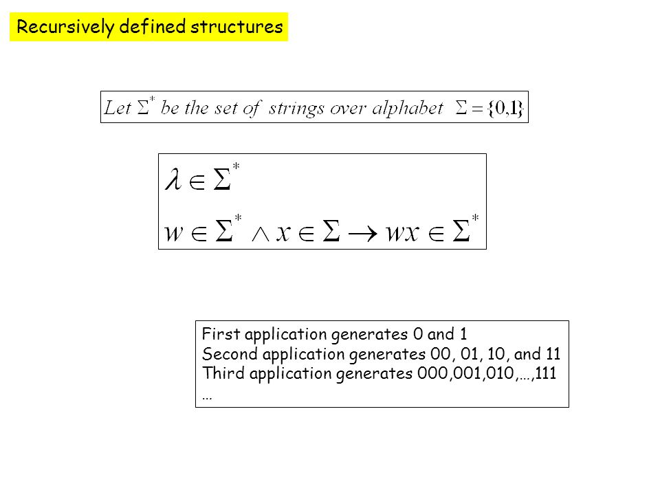 Recursively defined structures First application generates 0 and 1 Second application generates 00, 01, 10, and 11 Third application generates 000,001,010,…,111 …