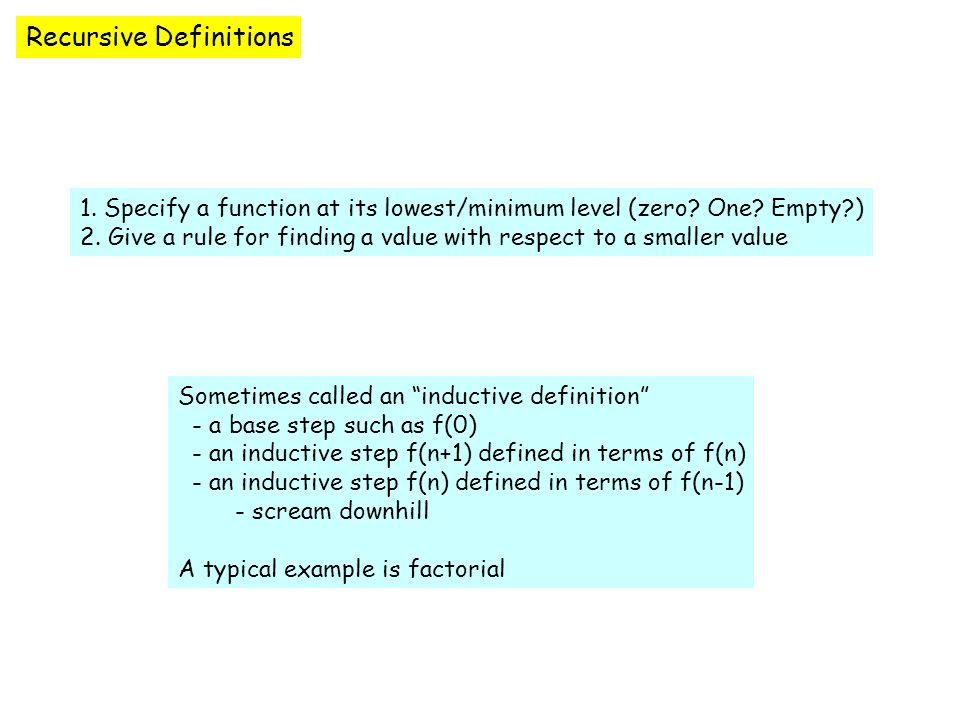 Recursive Definitions 1. Specify a function at its lowest/minimum level (zero.