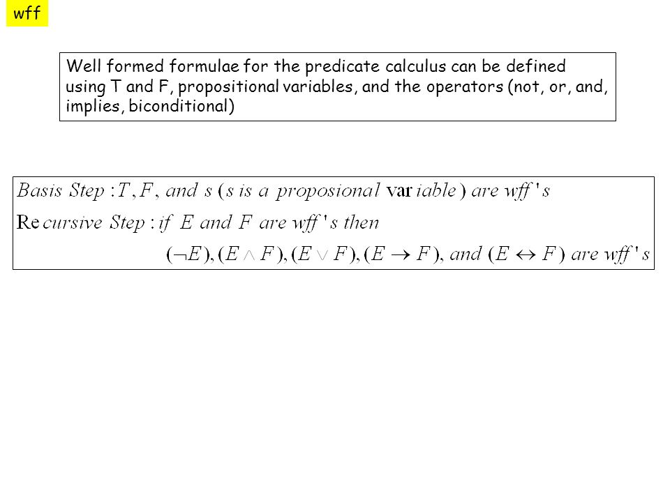 wff Well formed formulae for the predicate calculus can be defined using T and F, propositional variables, and the operators (not, or, and, implies, biconditional)