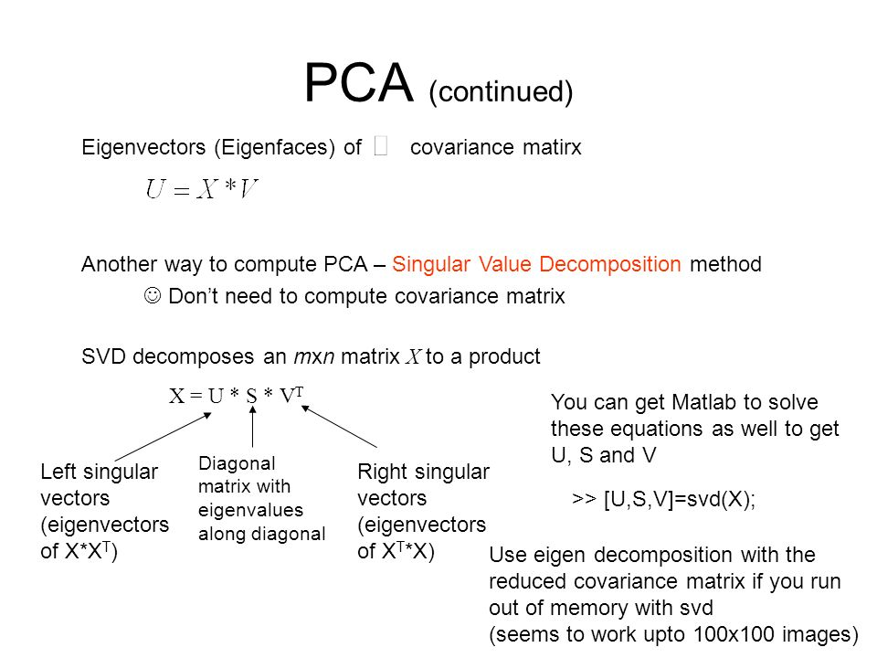 PCA (continued) Eigenvectors (Eigenfaces) of covariance matirx Another way to compute PCA – Singular Value Decomposition method SVD decomposes an mxn
