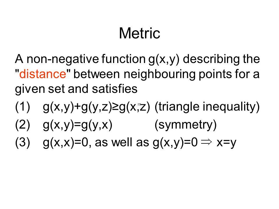 Metric A non-negative function g(x,y) describing the