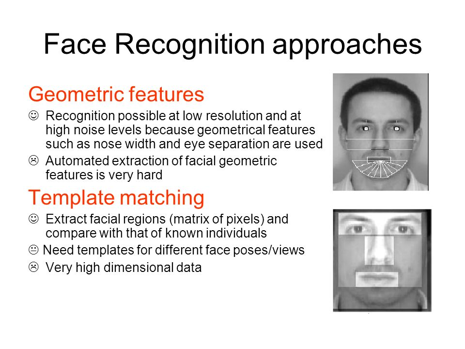 Face Recognition approaches Geometric features Recognition possible at low resolution and at high noise levels because geometrical features such as no