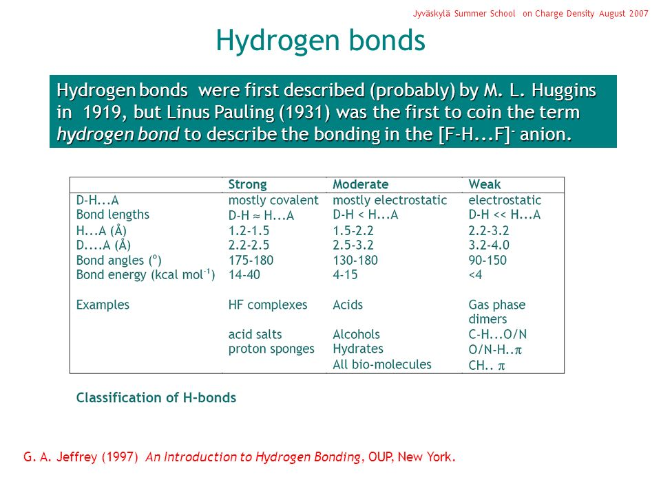 Hydrogen bonds Jyväskylä Summer School on Charge Density August 2007 Hydrogen bonds were first described (probably) by M.