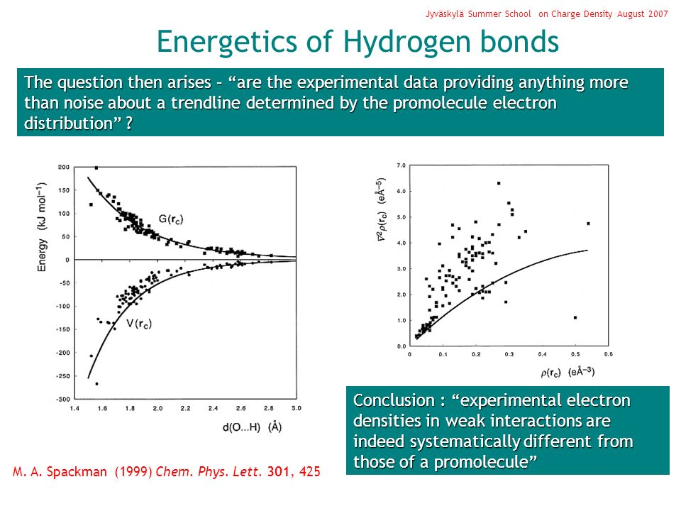 Jyväskylä Summer School on Charge Density August 2007 Energetics of Hydrogen bonds The question then arises – are the experimental data providing anything more than noise about a trendline determined by the promolecule electron distribution .