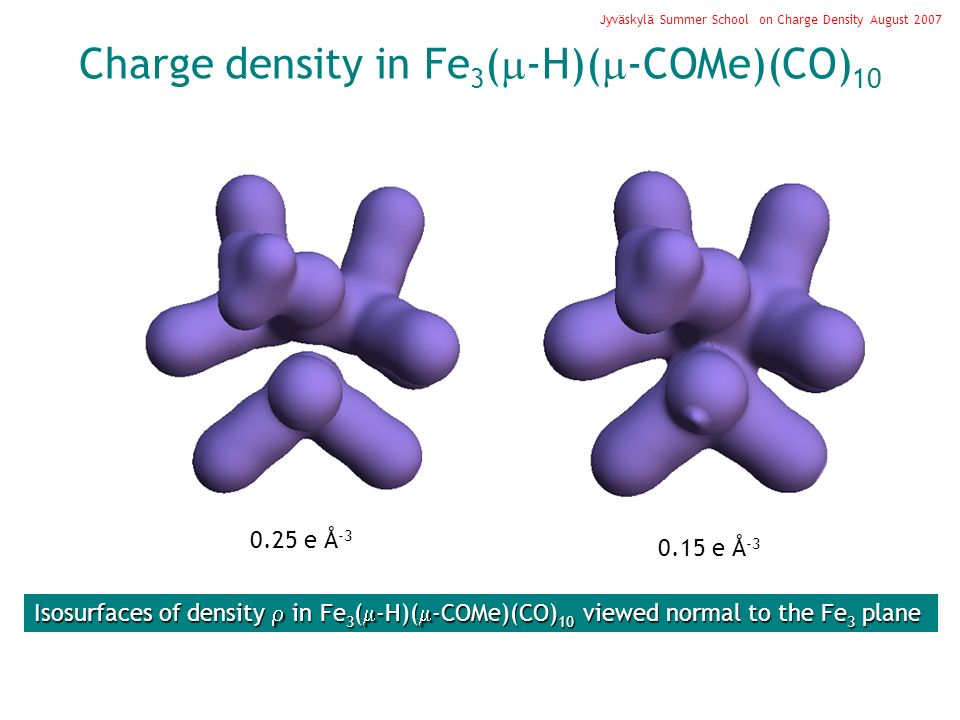 Isosurfaces of density in Fe 3 ( -H)( -COMe)(CO) 10 viewed normal to the Fe 3 plane 0.25 e Å -3 0.15 e Å -3 Charge density in Fe 3 ( -H)( -COMe)(CO) 10 Jyväskylä Summer School on Charge Density August 2007