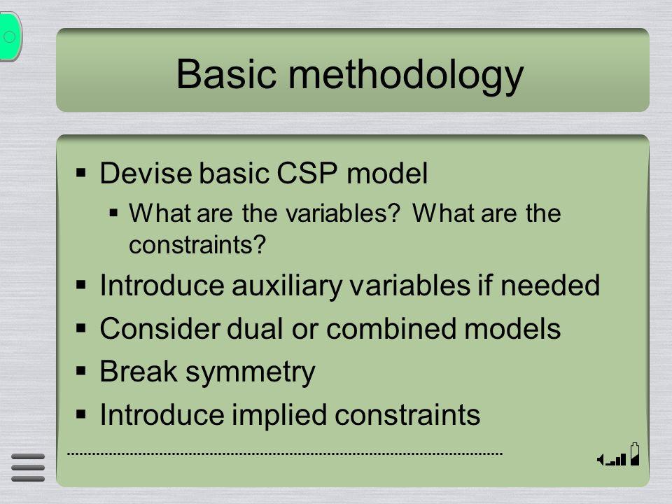Basic methodology Devise basic CSP model What are the variables.