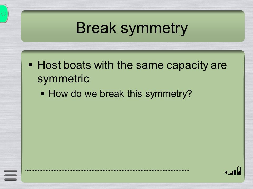 Break symmetry Host boats with the same capacity are symmetric How do we break this symmetry?