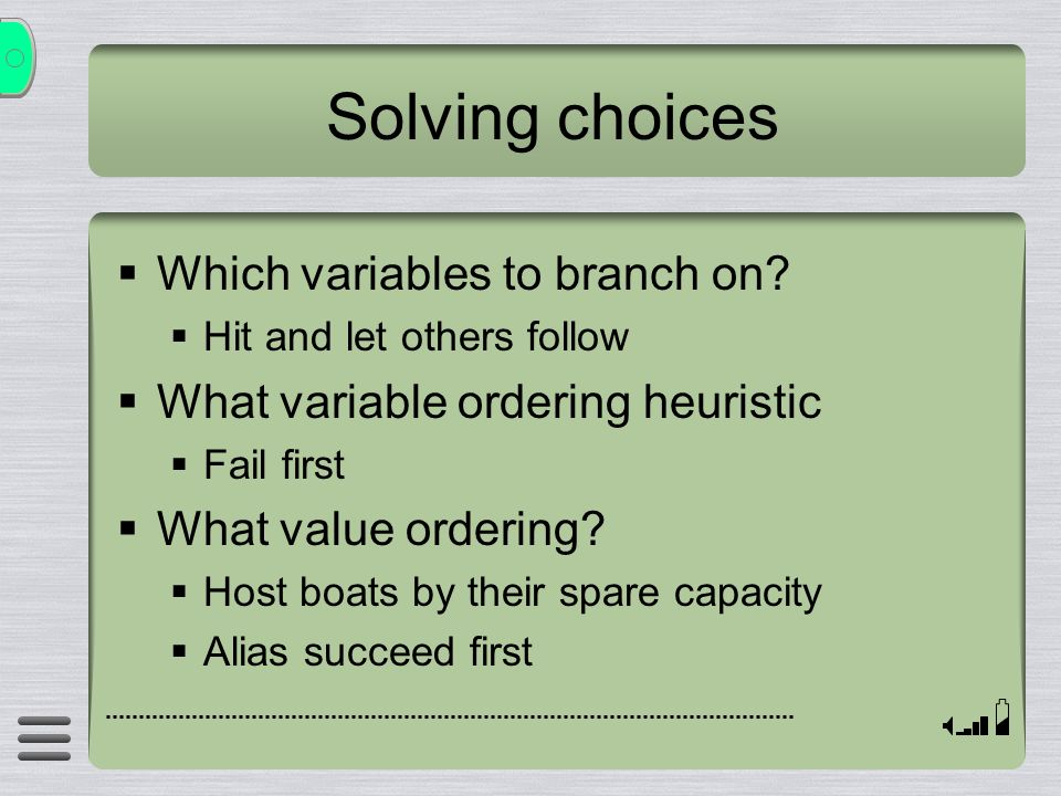 Solving choices Which variables to branch on.