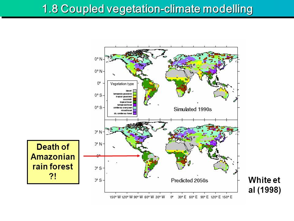 1.8 Coupled vegetation-climate modelling White et al (1998) Death of Amazonian rain forest !