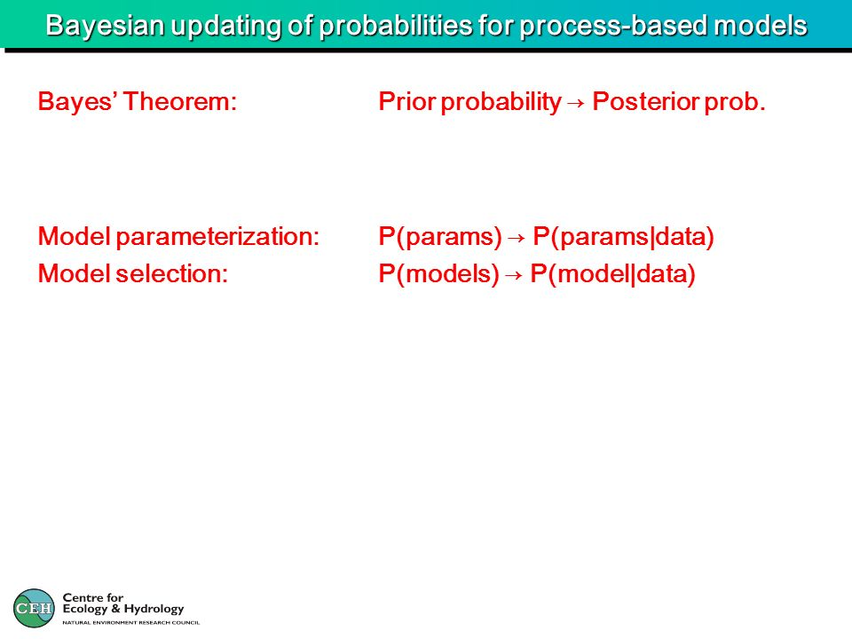 Bayesian updating of probabilities for process-based models Model parameterization:P(params) P(params|data) Model selection:P(models) P(model|data) Ba