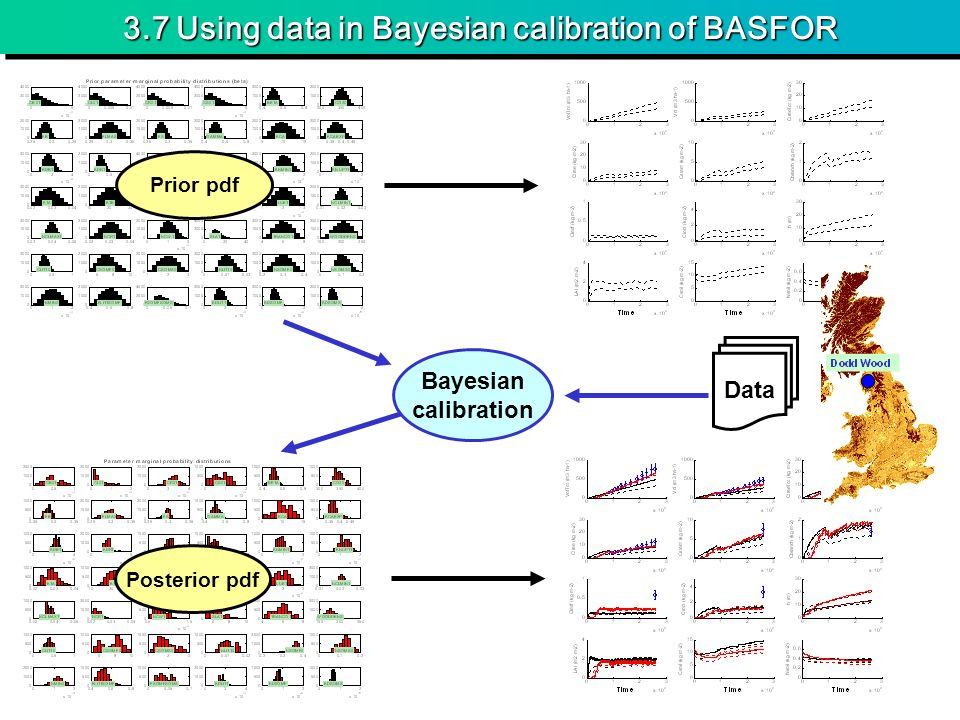 3.7 Using data in Bayesian calibration of BASFOR Prior pdf Posterior pdf Data Bayesian calibration