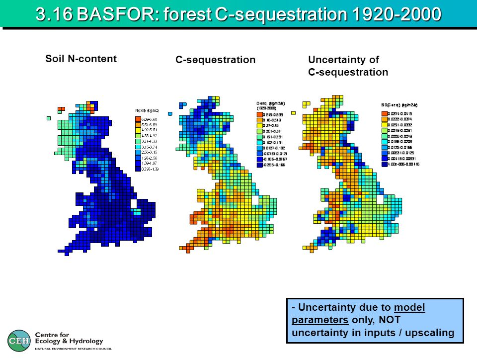 3.16 BASFOR: forest C-sequestration 1920-2000 - Uncertainty due to model parameters only, NOT uncertainty in inputs / upscaling Soil N-content C-sequestration Uncertainty of C-sequestration