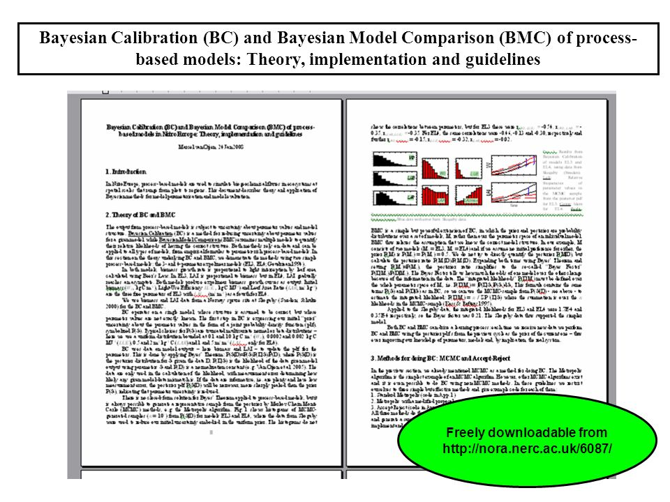 Bayesian Calibration (BC) and Bayesian Model Comparison (BMC) of process- based models: Theory, implementation and guidelines Freely downloadable from http://nora.nerc.ac.uk/6087/
