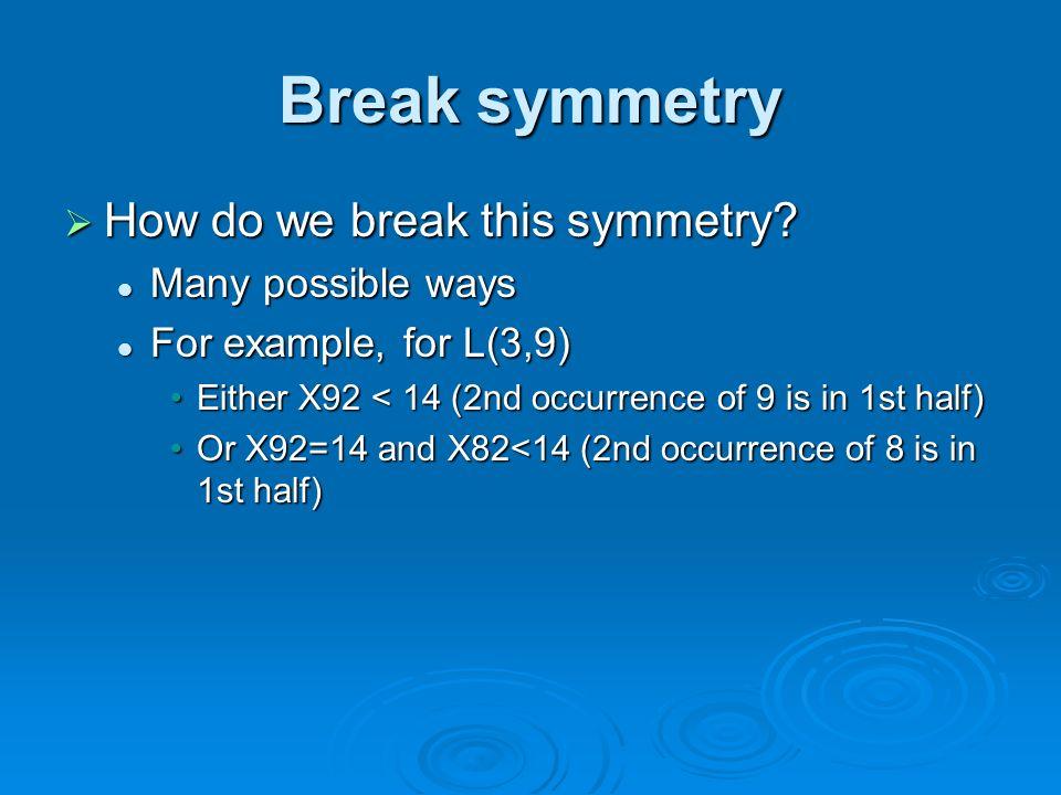 Break symmetry How do we break this symmetry. How do we break this symmetry.