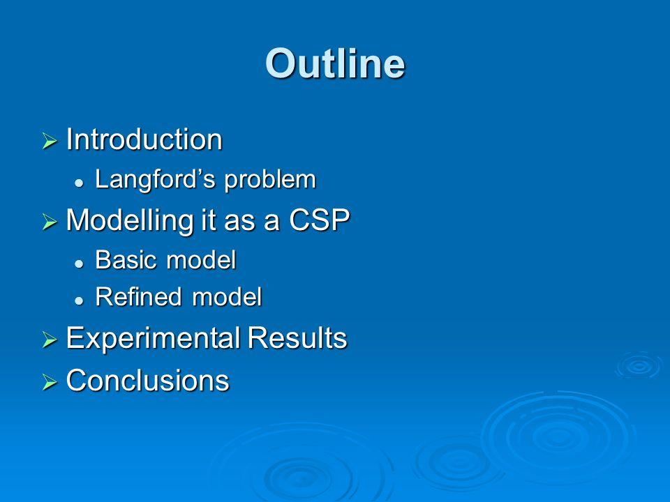 Outline Introduction Introduction Langfords problem Langfords problem Modelling it as a CSP Modelling it as a CSP Basic model Basic model Refined model Refined model Experimental Results Experimental Results Conclusions Conclusions