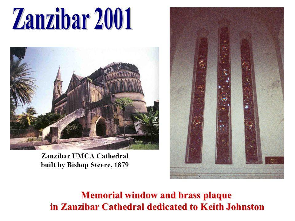 Memorial window and brass plaque in Zanzibar Cathedral dedicated to Keith Johnston in Zanzibar Cathedral dedicated to Keith Johnston Zanzibar UMCA Cat