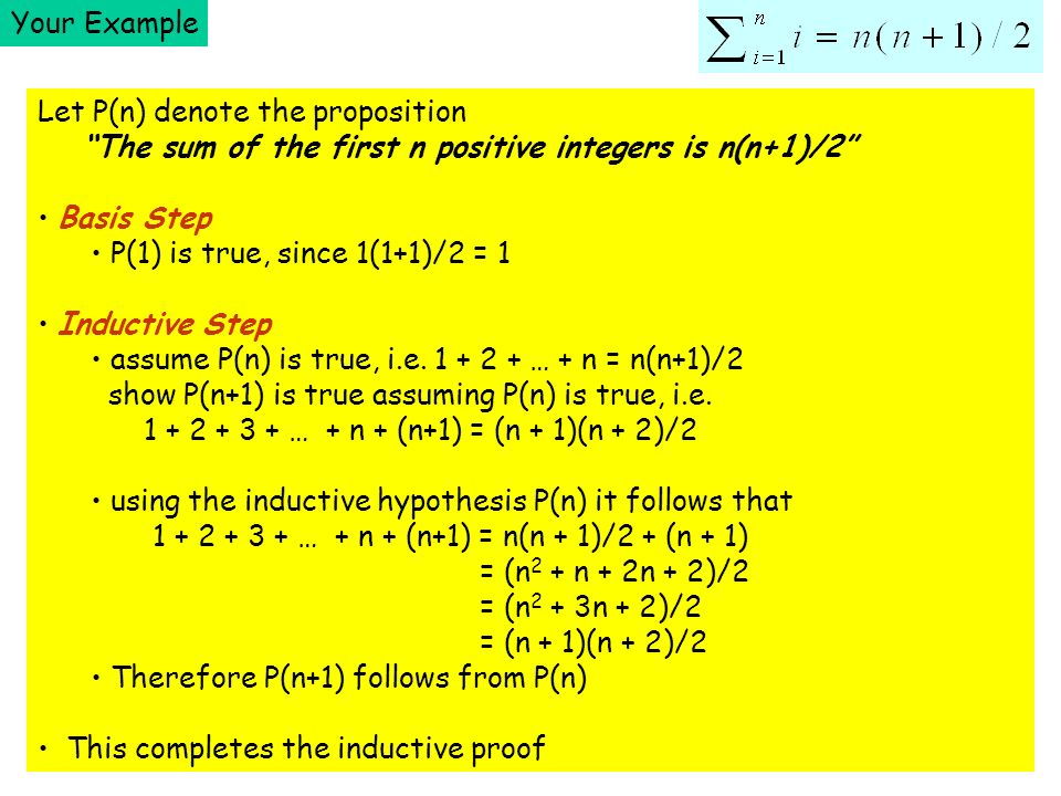 Your Example Let P(n) denote the proposition The sum of the first n positive integers is n(n+1)/2 Basis Step P(1) is true, since 1(1+1)/2 = 1 Inductive Step assume P(n) is true, i.e.