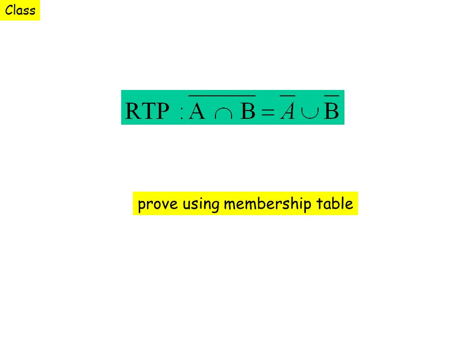 prove using membership table Class