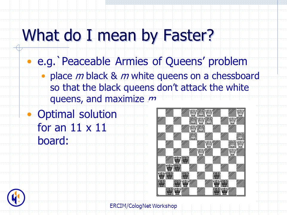 ERCIM/CologNet Workshop What do I mean by Faster? e.g.`Peaceable Armies of Queens problem place m black & m white queens on a chessboard so that the b