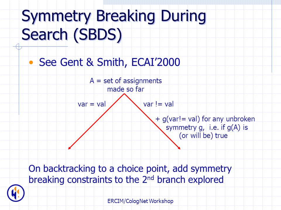 ERCIM/CologNet Workshop Symmetry Breaking During Search (SBDS) See Gent & Smith, ECAI2000 A = set of assignments made so far var = valvar != val + g(v