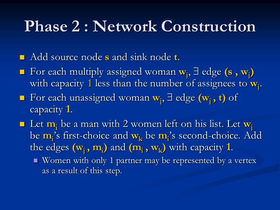 Phase 2 : Network Construction Add source node s and sink node t. Add source node s and sink node t. For each multiply assigned woman w j, edge (s, w