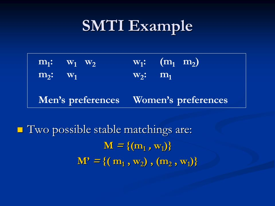SMTI Example m 1 : w 1 w 2 w 1 : (m 1 m 2 ) m 2 : w 1 w 2 : m 1 Mens preferencesWomens preferences Two possible stable matchings are: Two possible stable matchings are: M = {(m 1, w 1 )} M = {( m 1, w 2 ), (m 2, w 1 )}