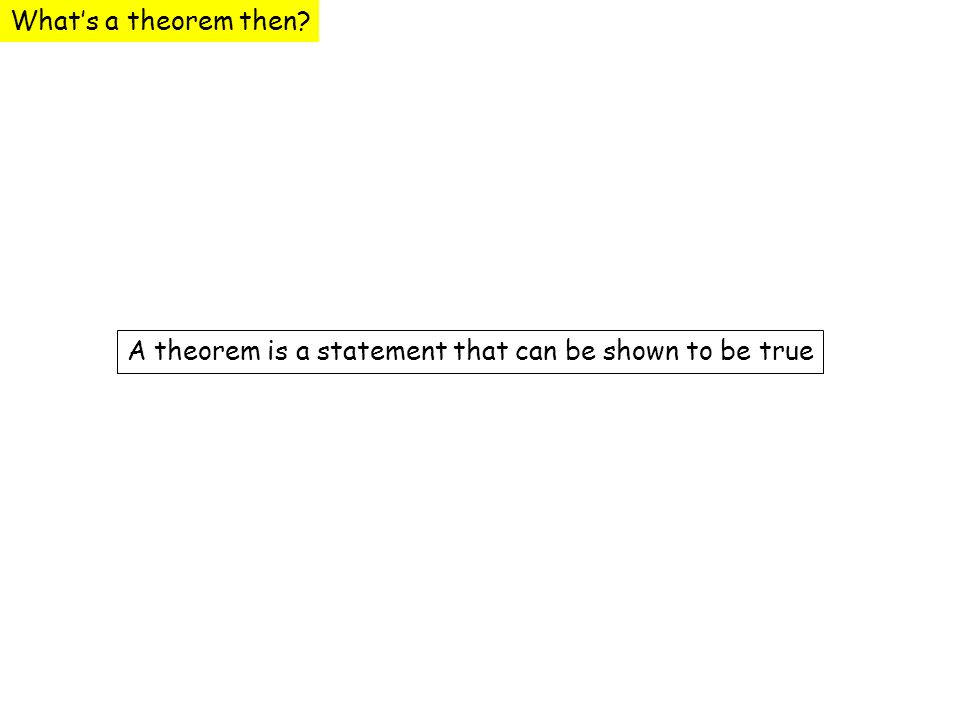 Whats a theorem then? A theorem is a statement that can be shown to be true
